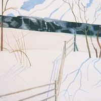 Gihon River Thaw  Johnson VT, 2005, oil on linen, 38 x 60 inches