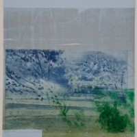 David Freed, Blue Heat, 2008-2009, Woodblock, etching, pastel on paper, 30 x 22 inches