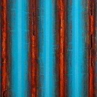 Robert Stuart, Blue & Rust, 2011, Oil and wax on canvas, 50 x 36 inches