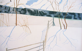 Gihon River Thaw – Johnson VT, 2005, oil on linen, 38 x 60 inches