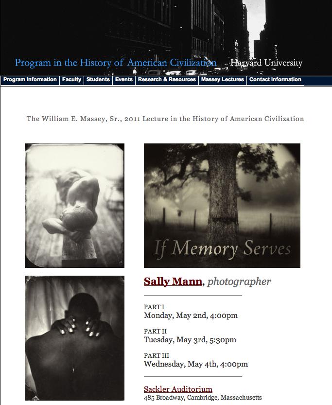 Sally Mann: Massey Lecture Series at Harvard