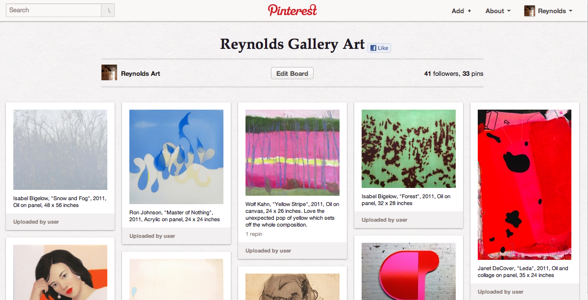 Reynolds Gallery is now on Pinterest