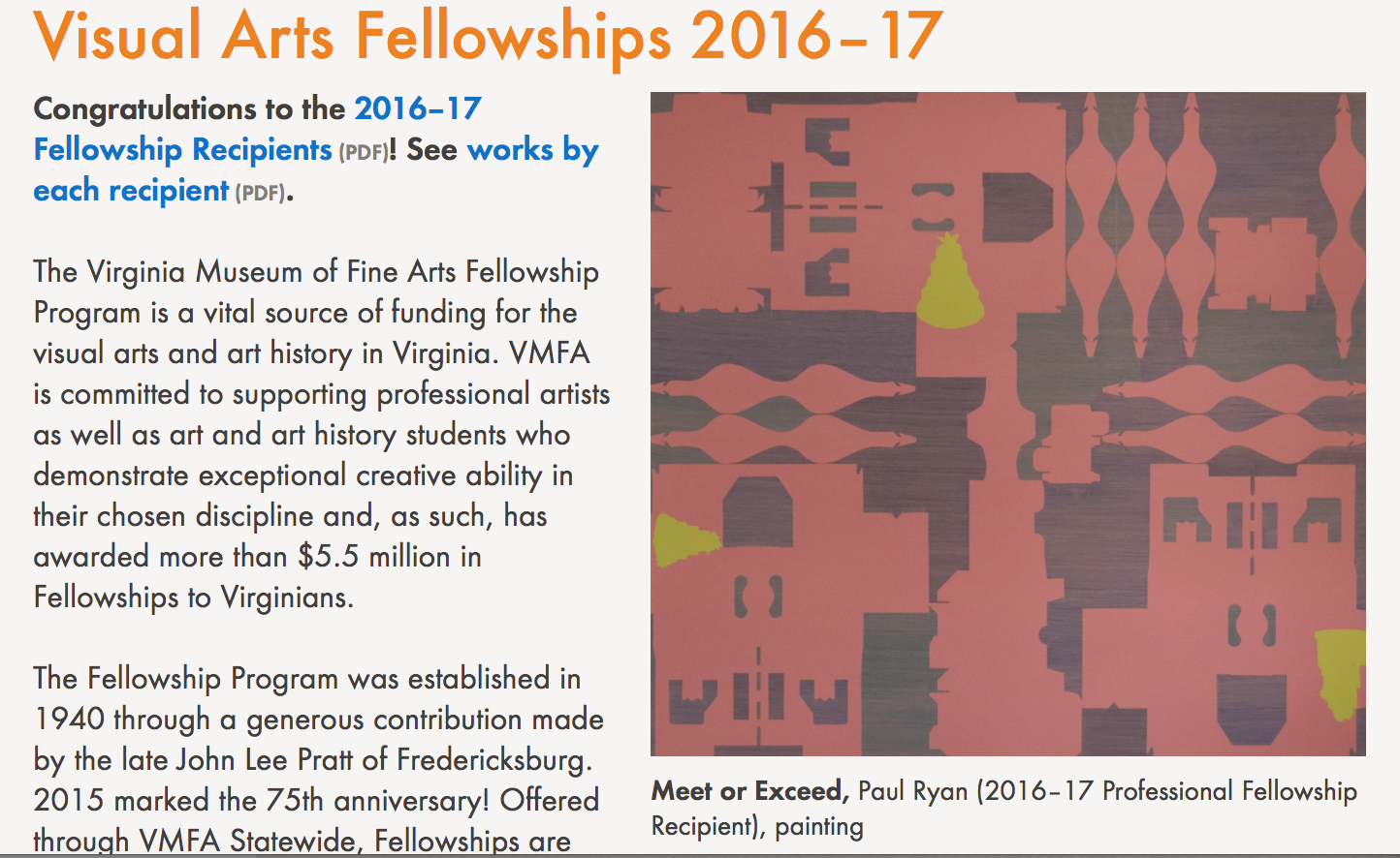 VMFA Visual Arts Fellowship Recipients 2016-2017