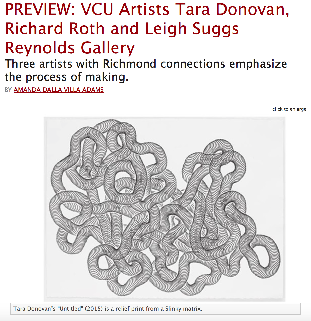 Preview: VCU Artists Tara Donovan, Richard Roth and Leigh Suggs